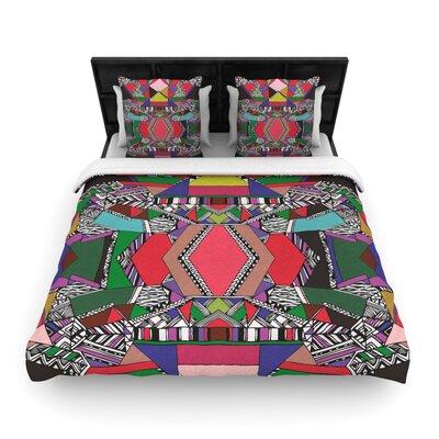 African Motif Woven Comforter Duvet Cover Size: King