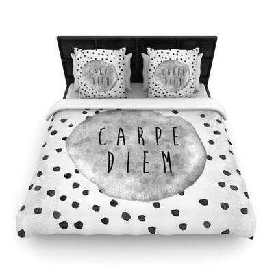 Carpe Diem Quote Woven Comforter Duvet Cover Size: King
