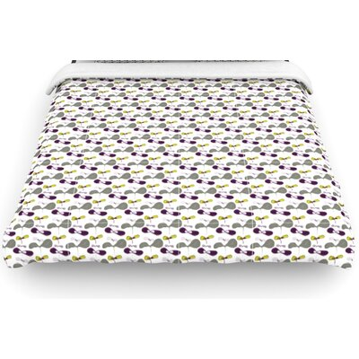 "Kess InHouse ""Mapleseeds"" Woven Comforter Duvet Cover - Color: Plum, Size: King"