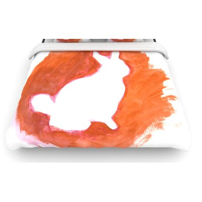 Orange You A Bunny by Theresa Giolzetti Woven Duvet Cover Size: Queen