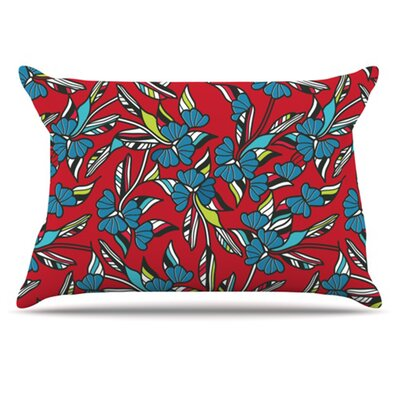 Paper Leaf Pillowcase Size: King, Color: Red