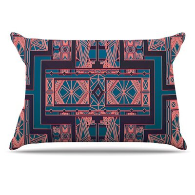 Golden Art Deco Pillowcase Size: King, Color: Blue and Coral