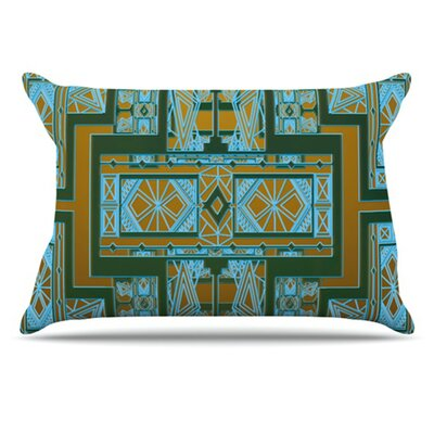Golden Art Deco Pillowcase Size: King, Color: Green and Blue