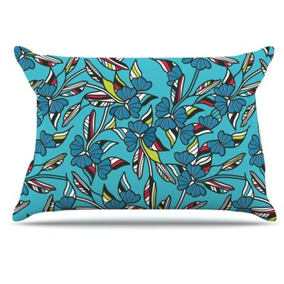 Paper Leaf Pillowcase Size: Standard, Color: Blue