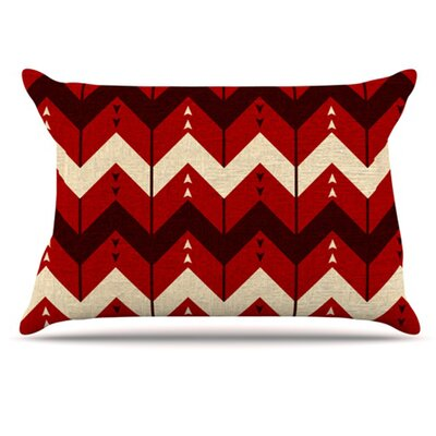 Chevron Dance Pillowcase Size: Standard, Color: Red