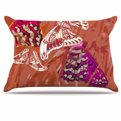 Butterflies Party Fleece Pillow Case Size: Standard, Color: Orange