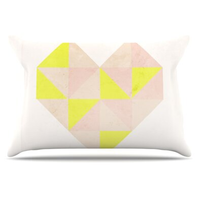 Geo Heart Pillowcase Color: Pink, Size: King