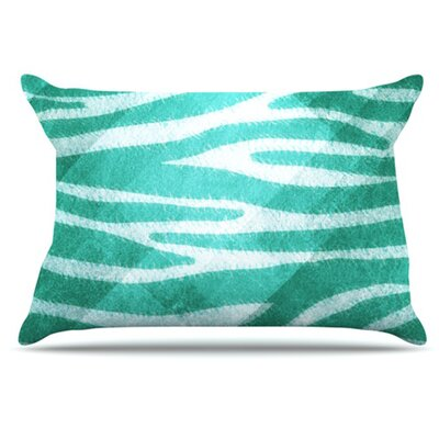Zebra Texture Pillowcase Size: Standard, Color: Blue