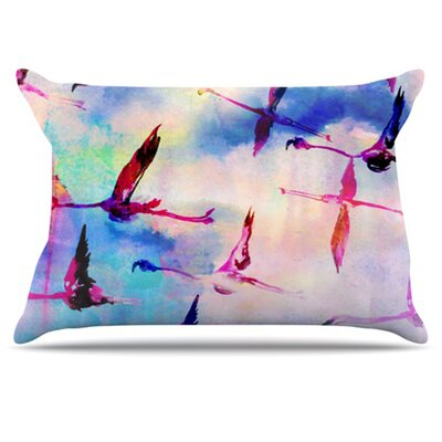 Flamingo in Flight Pillowcase Size: King
