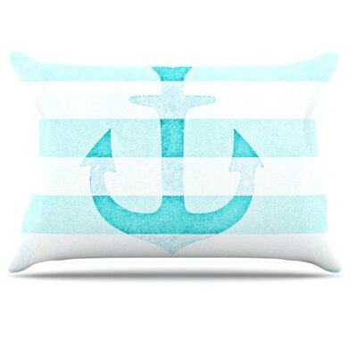 Stone Vintage Anchor Pillowcase Size: King, Color: Aqua