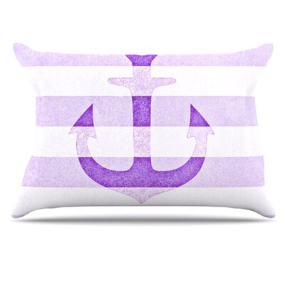 Stone Vintage Anchor Pillowcase Size: Standard, Color: Purple