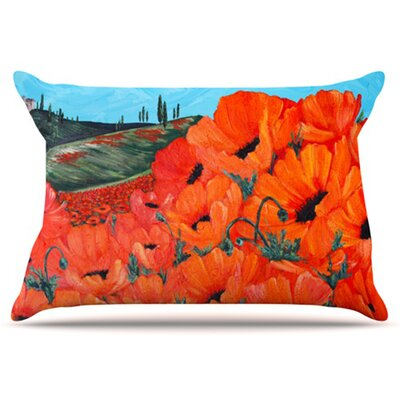 Poppies Pillowcase Size: Standard