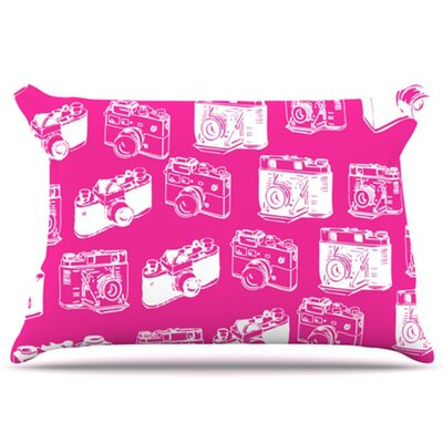 Camera Pattern Pillowcase Size: Standard, Color: Magenta