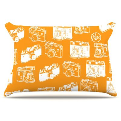 Camera Pattern Pillowcase Color: Orange, Size: King