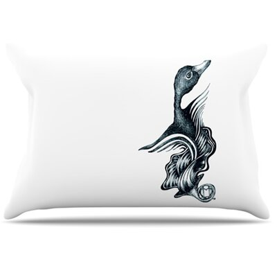 Swan Horns Pillowcase Size: Standard