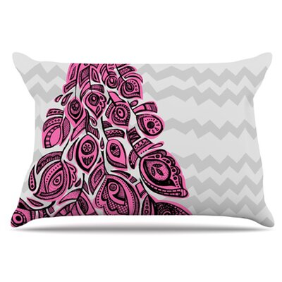 Peacock Pillowcase Size: King, Color: Pink