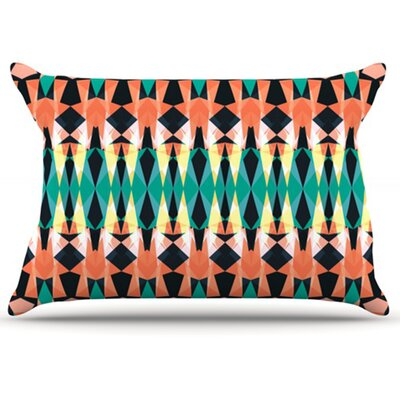 Triangle Visions Pillowcase Color: Orange/Blue, Size: King