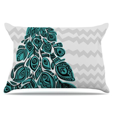 Peacock Pillowcase Size: Standard, Color: Blue