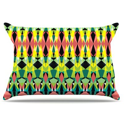 Triangle Visions Pillowcase Size: Standard, Color: Green/Yellow