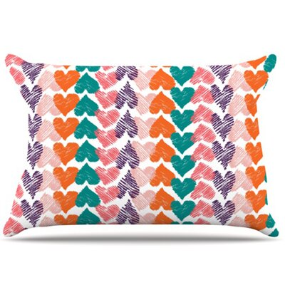 Hearts Pillowcase Size: King