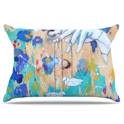 Origami Strings Pillowcase Size: Standard