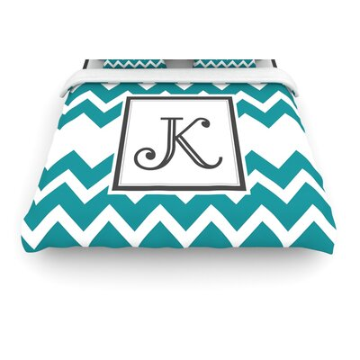 Monogram Chevron Teal Woven Duvet Cover Size: Twin