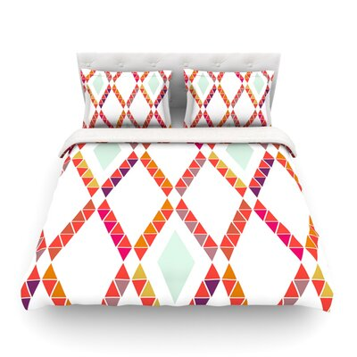Pellerina Design Aztec Diamonds Orange Geometric Featherweight Duvet Cover Size: Full/Queen, Fabric: Lightweight Polyester