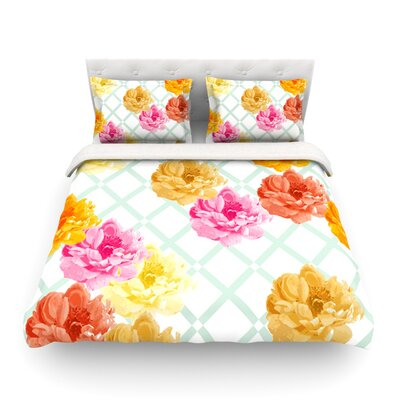 Pellerina Design Trellis Peonies Yellow Flowers Featherweight Duvet Cover Size: King, Fabric: Lightweight Polyester