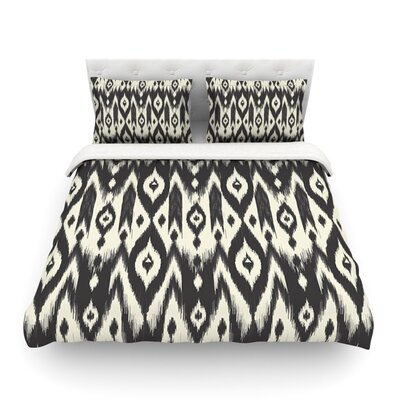 Amanda Lane Black Cream Tribal Ikat Tan Dark Featherweight Duvet Cover Size: Full/Queen