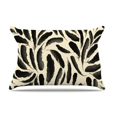 Feather Pattern by Skye Zambrana Featherweight Pillow Sham Size: King, Fabric: Woven Polyester