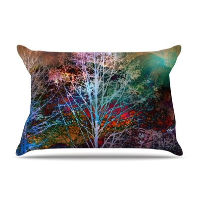 Trees in the Night by Sylvia Cook Featherweight Pillow Sham Size: King, Fabric: Woven Polyester