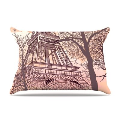 Eiffel Tower by Sam Posnick Featherweight Pillow Sham Size: King, Fabric: Woven Polyester