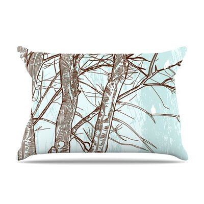 Winter Trees by Sam Posnick Featherweight Pillow Sham Size: King, Fabric: Woven Polyester