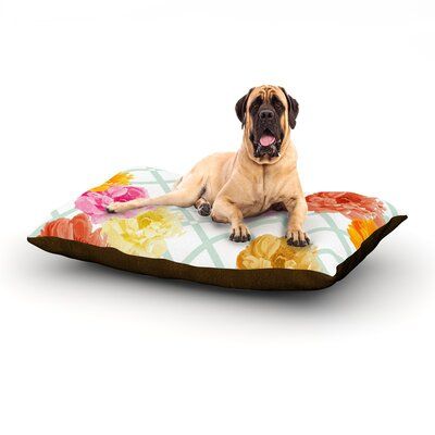 Trellis Peonies Dog Bed Size: 60 L x 50 W
