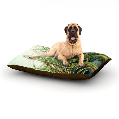 Teal Peacock Feather Dog Bed Size: 40 L x 30 W