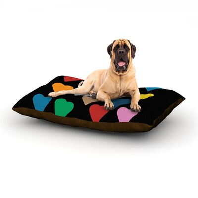 Hearts Colour on Black Dog Bed Size: 28 L x 18 W