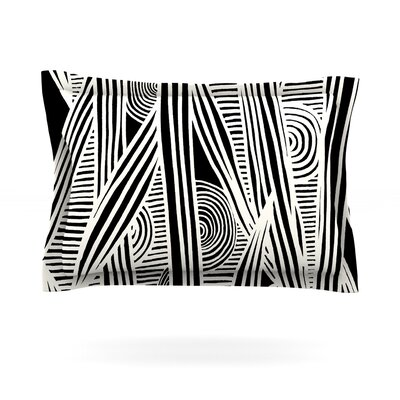 Emine Ortega Graphique BlackFeatherweight Sham Color: Black, Size: King, Fabric: Cotton