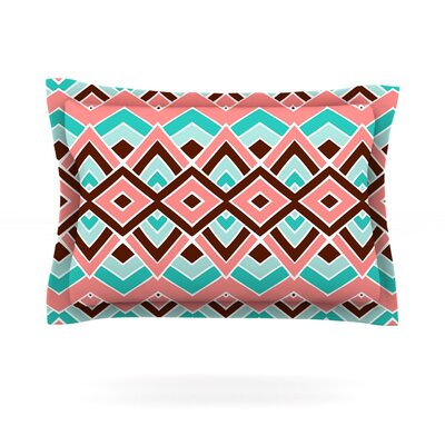Pom Graphic Design Eclectic Peach Teal Featherweight Sham Size: Standard, Fabric: Cotton