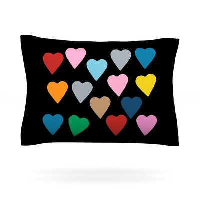 Project M Hearts Colour on Black Featherweight Sham Size: King, Fabric: Cotton