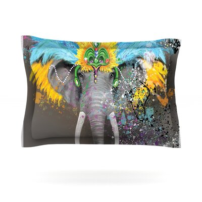 Geordanna Cordero-Fields My Elephant with Headdress Gray Rainbow Featherweight Sham Size: King, Fabric: Cotton