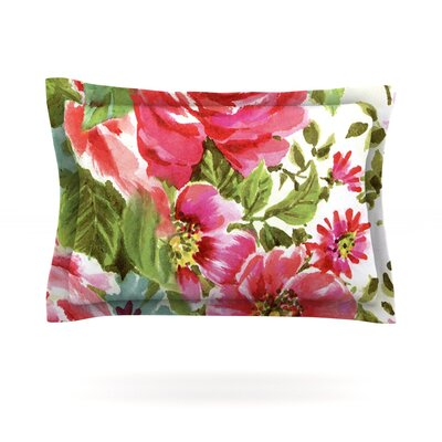 Heidi Jennings Walk Through The Garden Pink Flowers Featherweight Sham Size: King, Fabric: Cotton