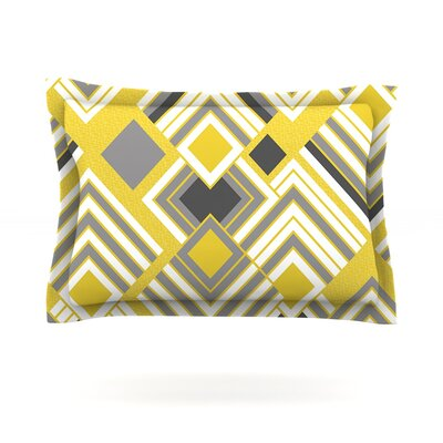 Luca by Jacqueline Milton Woven Pillow Sham Size: King, Color: Yellow/Gray