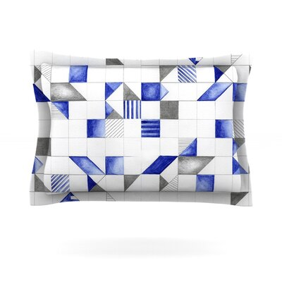 Kira Crees Winter Geometry White Blue Featherweight Sham Size: King, Fabric: Cotton