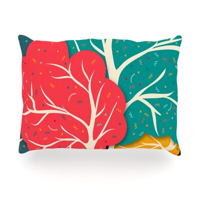 Happy Forest Trees Outdoor Throw Pillow Size: 14 H x 20 W x 3 D