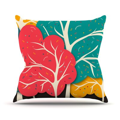 Happy Forest Trees Throw Pillow Size: 26 H x 26 W x 1 D