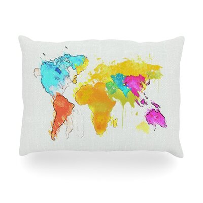 World Map Rainbow Outdoor Throw Pillow Size: 14 H x 20 W x 3 D