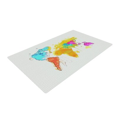 World Map Rainbow White Area Rug Rug Size: 4 x 6