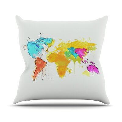 World Map by Oriana Cordero Rainbow Throw Pillow Size: 18 H x 18 W x 3 D