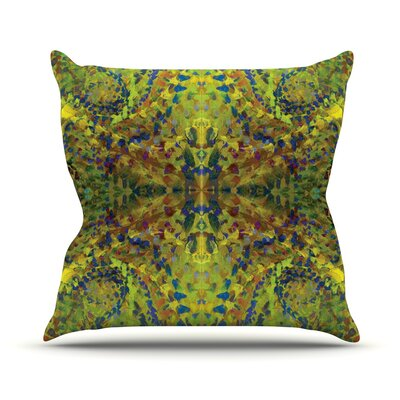Yellow Jacket Abstract Outdoor Throw Pillow Size: 18 H x 18 W x 3 D