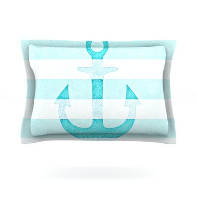 Monika Strigel Stone Vintage Aqua Anchor Featherweight Sham Size: King, Color: Aqua, Fabric: Cotton